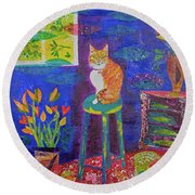 Ginger The Cat Round Beach Towel