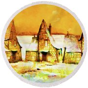 Gingerbread Cottages Round Beach Towel