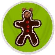 Gingerbread Teddy Round Beach Towel by Jean Pacheco Ravinski