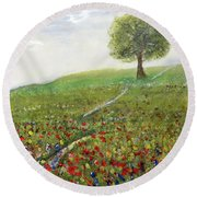 Ginger's Meadow Round Beach Towel