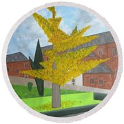 Gingko Tree At St. James Church Round Beach Towel by Tamara Savchenko