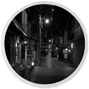 Gion Street Lights, Kyoto Japan Round Beach Towel