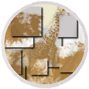 Giraffe 4 Round Beach Towel