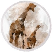 Giraffe And Baby Round Beach Towel