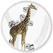 Giraffe And Bicycles Round Beach Towel