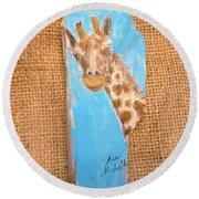 Giraffe  Round Beach Towel by Ann Michelle Swadener