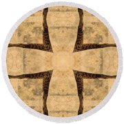Giraffe Cross Round Beach Towel by Maria Watt