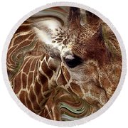 Giraffe Dreams No. 1 Round Beach Towel