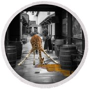 Giraffe Drinking Whiskey Series 4987y Round Beach Towel