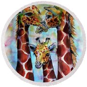 Round Beach Towel featuring the painting Giraffe Family by Kovacs Anna Brigitta