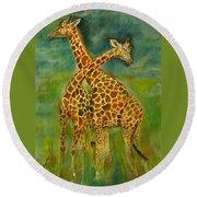 Lovely Giraffe . Round Beach Towel by Khalid Saeed