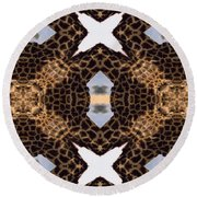 Giraffe I Round Beach Towel by Maria Watt