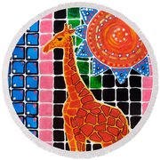 Round Beach Towel featuring the painting Giraffe In The Bathroom - Art By Dora Hathazi Mendes by Dora Hathazi Mendes