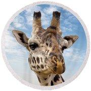 Giraffe In The Masai Mara Round Beach Towel