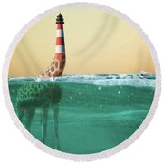 Giraffe Lighthouse Round Beach Towel
