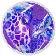 Round Beach Towel featuring the digital art Giraffe Love 515 by Jane Schnetlage