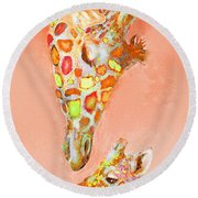 Giraffe Love- Orange Round Beach Towel