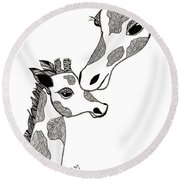 Giraffe Mom And Baby Round Beach Towel