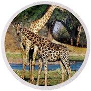 Giraffe Mother And Calf Round Beach Towel
