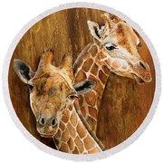 Giraffe Pair Round Beach Towel