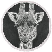 Giraffe Pencil Drawing Round Beach Towel