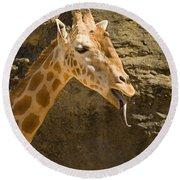 Giraffe Raspberry Round Beach Towel
