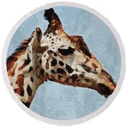 Round Beach Towel featuring the digital art Giraffe Safari  by PixBreak Art