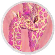 Round Beach Towel featuring the digital art Giraffe Shades- Pink by Jane Schnetlage