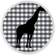 Giraffe Silhouette Round Beach Towel by Linda Woods