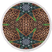 Giraffe Stars Round Beach Towel by Maria Watt