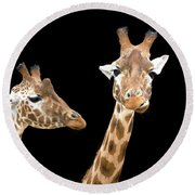 Giraffe Trio Round Beach Towel