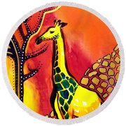 Giraffe With Fire  Round Beach Towel by Dora Hathazi Mendes