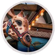 Giraffecarousel Round Beach Towel