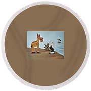 Giraffes, Elephants And Palm Trees Round Beach Towel