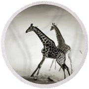 Giraffes Fleeing Round Beach Towel