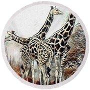 Round Beach Towel featuring the digital art Giraffes by Pennie McCracken