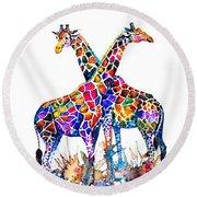 Giraffes Round Beach Towel by Zaira Dzhaubaeva