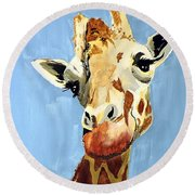 Round Beach Towel featuring the painting Girard Giraffe by Tom Riggs