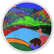 Girl And A Guardian Bear Round Beach Towel