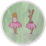 Girl And Bunny In Pink Tutus Round Beach Towel