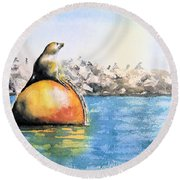 Girl And Buoy Round Beach Towel