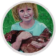 Girl And Chicken Round Beach Towel