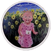 Girl And Daisies Round Beach Towel