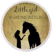 Girl And Horse Silhouette Round Beach Towel