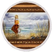 Girl And Ocean In Vintage Frame Round Beach Towel