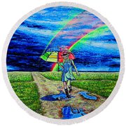 Round Beach Towel featuring the painting Girl And Puddle by Viktor Lazarev