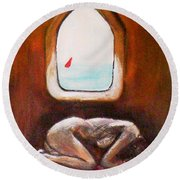 Round Beach Towel featuring the painting Girl At The Beach by Winsome Gunning