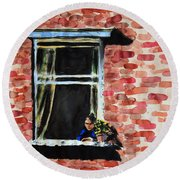 Girl At Window Round Beach Towel