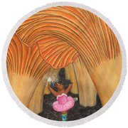 Girl Bear In Galoshes Round Beach Towel