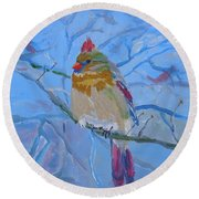 Round Beach Towel featuring the painting Girl Cardinal by Francine Frank